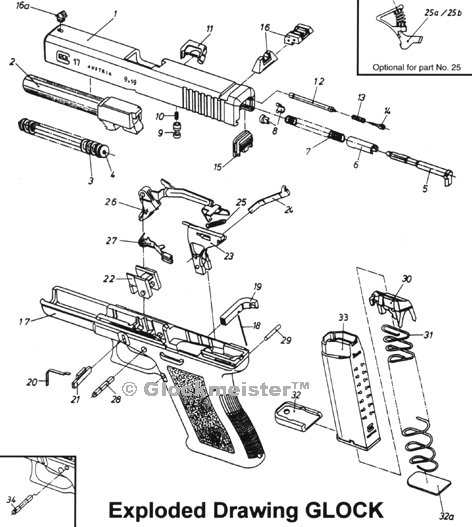 glock exploded view shows all the 34 parts to a glock.