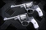 Hard Chrome Nagant Revolvers.  I found these on surplusrifle.com, someone coated these in Hard Chrome for their daughter to enjoy Cowboy Action shooting. He also changed the revolver around so it was