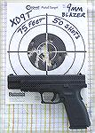 "Springfield Armory XD 9mm, 5"" Tactical model. Target shot with CCI Blazer 115gr 9mm (50 shots at 75 feet, 4 inch group)."
