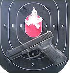 Glock 21SF 45acp pistol with 30 round group fired at 50 feet. Ammo was Blazer 230gr ball.