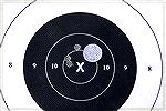 This three shot group was fired by a Sedgley-sporterized '03 Springfield (.30-06) at 70 yards with a factory-installed Lyman receiver sight and gold bead front sight. At 70 yards the bead just exactly