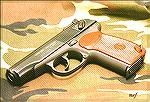 "A new-production, U.S. import version of the Russian Makarov in caliber 9x18.  Note the ""mini-Bomar"" rear sight.  An excellent sight, but a bit out of place on such a pistol!  Red stocks are Russian m"
